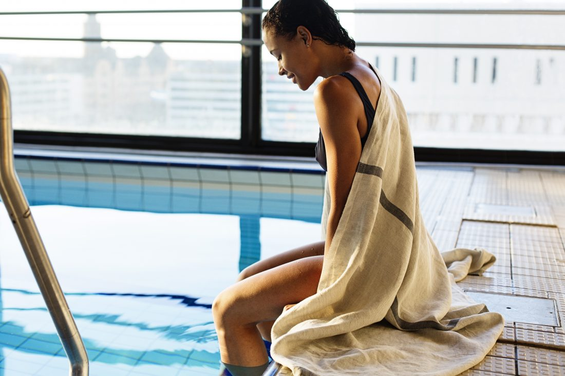 Katinka Kreative a girl sitting by the pool sustainable design